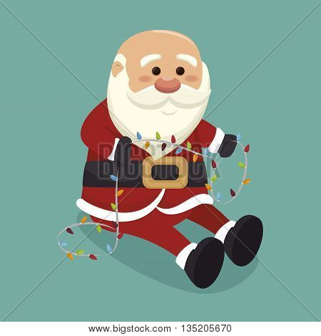 santa claus with lights  isolated icon design, vector illustration  graphic