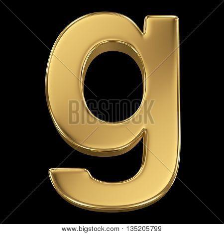 Golden shining metallic 3D symbol letter g - isolated on black