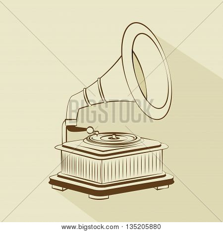 old gramophone drawing   isolated icon design, vector illustration  graphic