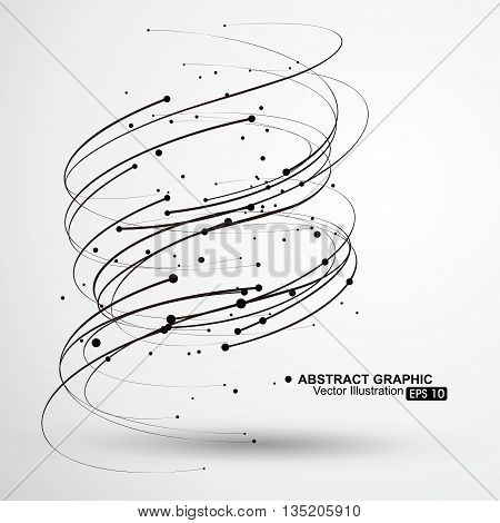 Vector Tornado, Curves and points composition, Abstract graphics.