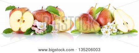 Apple And Pear Apples Pears Fruit Red Fruits Slice Isolated On White
