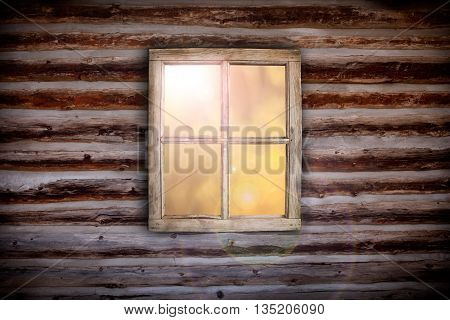 Morning light through cabin window background design