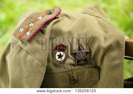 OLD BETHPAGE, NEW YORK - MAY 22, 2016: World War II Soviet Army military memorabilia on display during World War II encampment in Old Bethpage, NY