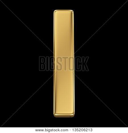 Golden shining metallic 3D symbol letter l - isolated on black