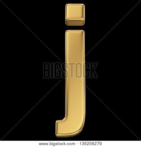 Golden shining metallic 3D symbol letter j - isolated on black