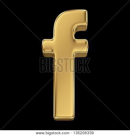 Golden shining metallic 3D symbol letter f - isolated on black