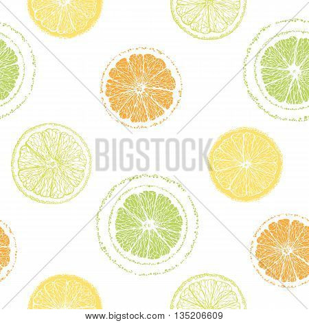 Seamless pattern of sliced lemons, oranges, limes. Citrus pattern. Graphic fruit background. Hand-drawn citrus. Vector illustration.