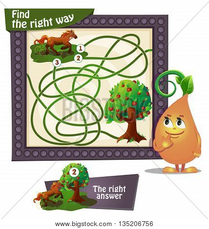 Visual Game for children. Task: find the right way