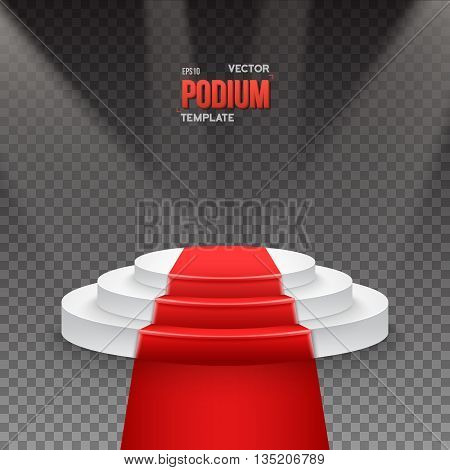 Illustration of Illustration of Photorealistic Winner Podium Stage with Stage Lights and Red Carpet Isolated on Transparent Overlay Background. Used for Product Placement, Presentations, Contests