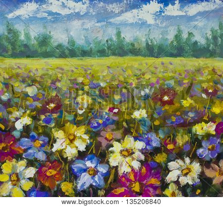 Flowers field. Flower oil painting background. Landscape of multicolored flowers. Impressionist oil painting flowers.