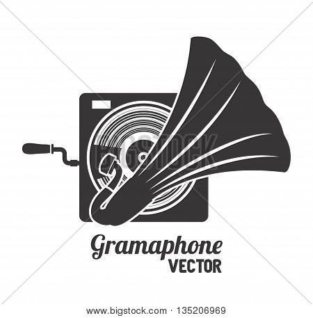 old gramophone  isolated icon design, vector illustration  graphic