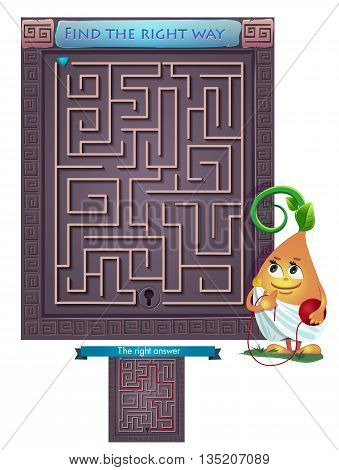 Visual Game for children. Task: find the right way out of the maze