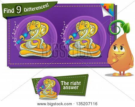 Visual Game for children. spot 9 differences snake
