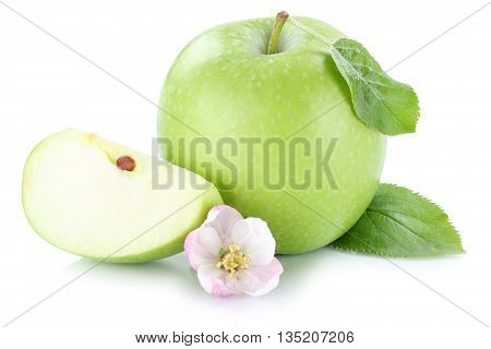 Apple Fruit Green Slice Sliced Isolated On White