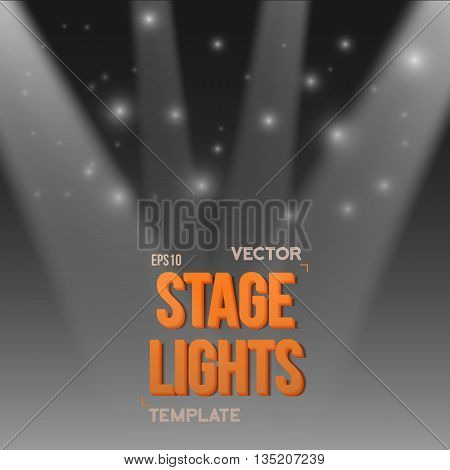 Illustration of Vector Stage Light Effect. EPS10 Bright Stage Light Illuminating Podium. Transparent Studio Stage Light Effect on Transparent Overlay Background