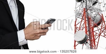 Businessman using mobile phone, with satellite dish telecom network on telecommunication tower, isolated on white background, telecommunication in business and development