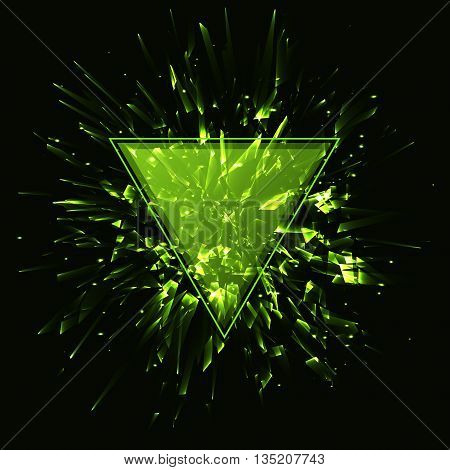 Triangular frame, Abstract green vector explosion, Vector illustration