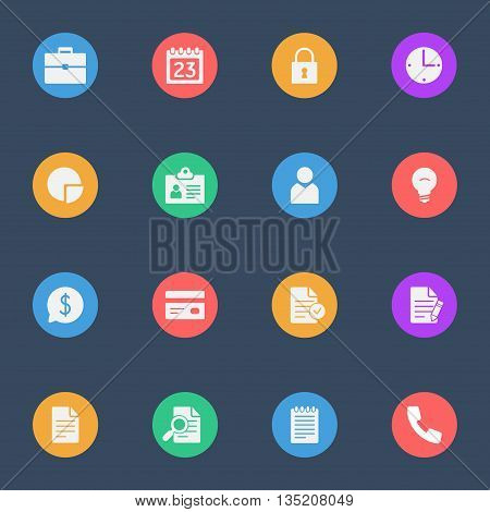 Business flat vector icons set of 16