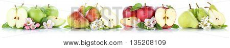 Apple And Pear Collection Apples Pears Fruit Sliced Fruits Isolated On White
