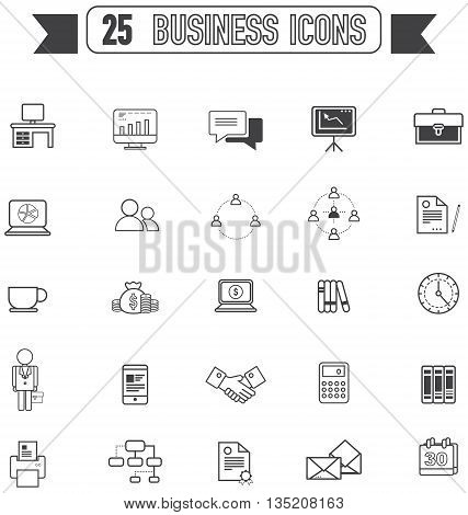 Flat line silhouette business and office tool equipment sign and symbol icon collection set create by vector