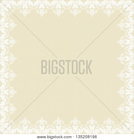 Classic white square frame with arabesques and orient elements. Abstract fine ornament with place for text