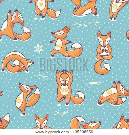 Healthy lifestyle concept. Vector endless background of a cute red foxes Practicing Yoga in the snow. It can be used as a poster, postcard, complimentary yoga and sports center.