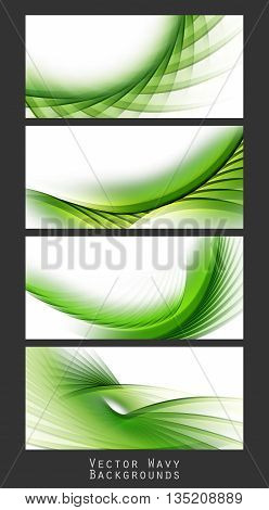 Bright vector backgrounds set. Wavy green lines, elements for design. Vector elements for presentations, brochures, annual reports. Eps10