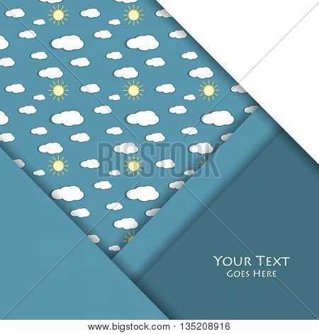 Unusual modern material design over seamless pattern . Vector background. Seamless pattern with sky elements. Eps10 vector illustration