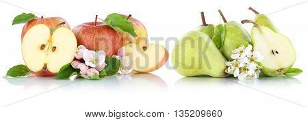Apple And Pear Apples Pears Fruit Red Green Fruits Slice Isolated On White