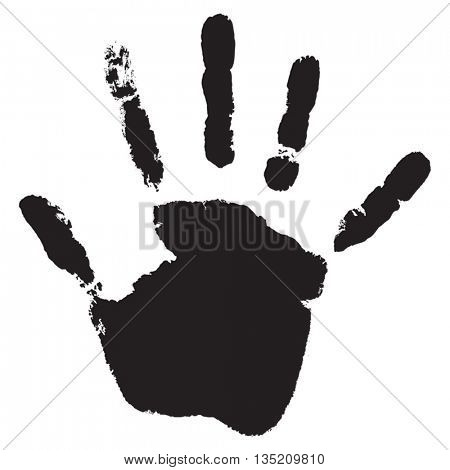 Vector concept or conceptual cute black paint human hand or handprint of child isolated on white background