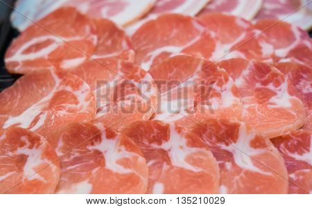 Raw Kurobuta Pork Slices On Plates, For Sukoyaki And Yakiniku Hot Pot Shabu, Japanese Food