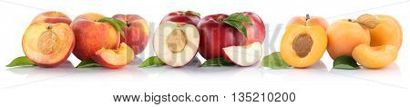 Peach Nectarine Apricot Slice Half Fruit Fruits Isolated On White