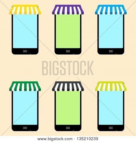Mobile store set vector. Mobile shopping and electronics store phone store and illustration mobile phone store