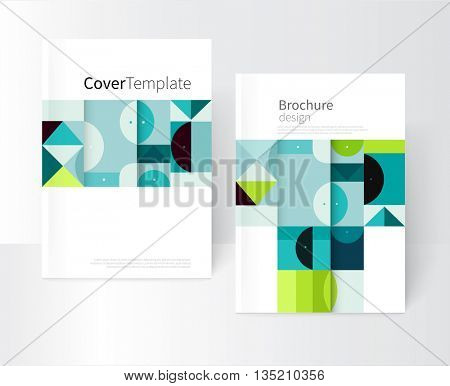 Vector book cover design creative concept  catalog, report, brochure. Black, Blue and green abstract geometric shapes. Squares, triangles and circles vector-stock EPS 10. a4 size
