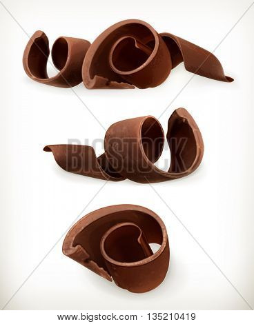 Chocolate shavings, chocolates curl, sweet food, vector icon set isolated on white background