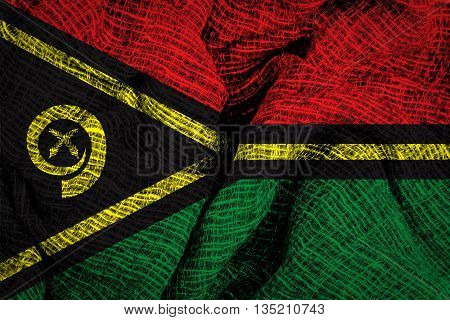 Vanuatu national flag on fabric surface texture background