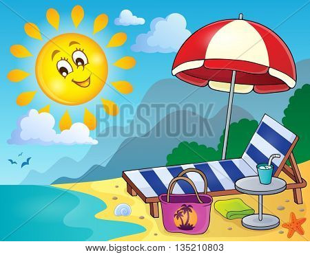 Sunlounger on beach image 1 - eps10 vector illustration.