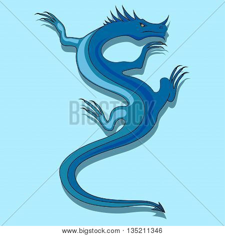 illustration with the image of a blue dragon