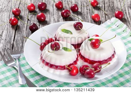 Italian dessert of cherry juice and sweetened cream thickened with gelatin and and molded on a rectangular dish with cherries on a dark wooden background view from above