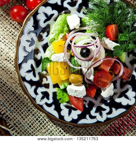 Delicious Greek Salad Asian Style