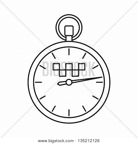 Speedometer in taxi icon in outline style isolated on white background