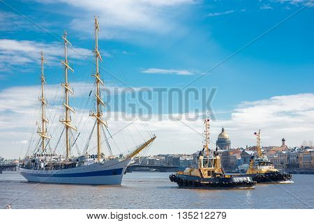 ST. PETERSBURG, RUSSIA - April 16, 2016: Frigate MIR floating on the Neva River St. Petersburg, Russia