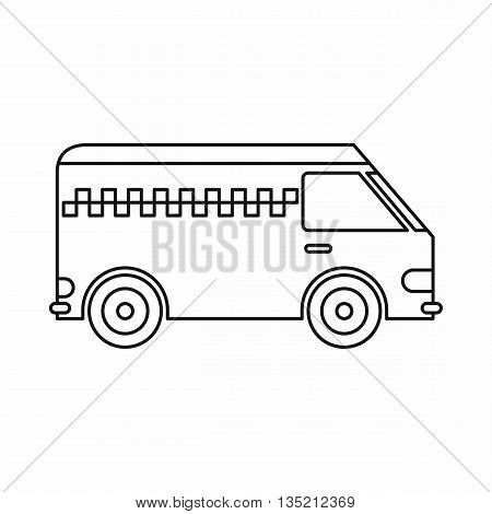 Minibus taxi icon in outline style isolated on white background