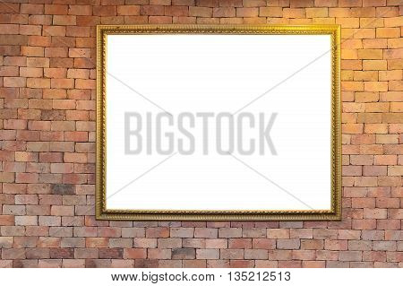 Blank Antique Picture Frame On Brick Wall With Lighting, Warm Tone