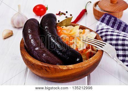 Black Pudding Kaszanka with Sauerkraut Studio Photo