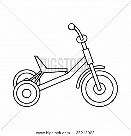 Tricycle icon in outline style isolated on white background