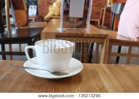 hot fresh coffee in white cup on wooden table cappuccino coffee mocha coffee espresso coffee latte coffee