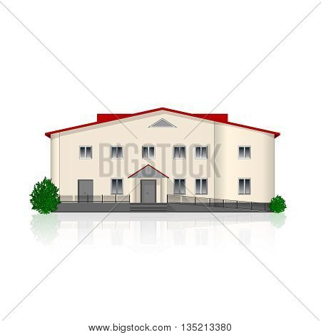 Separately standing office building isolated on white background with reflection and bushes. Vector illustration