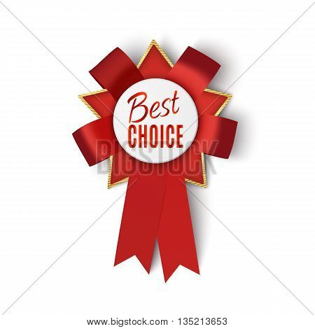Realistic red fabric award ribbon isolated on white background. Best choice. Vector illustration.