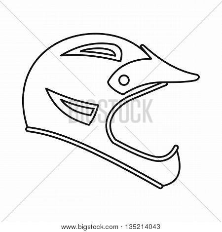 Bicycle helmet icon in outline style isolated on white background